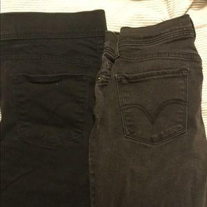 2 Pair Levi's Sz 4/4p 512 Skinny Black Jean/Lgging